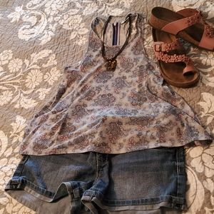 American Eagle Outfitters Gray Paisley Tank XS
